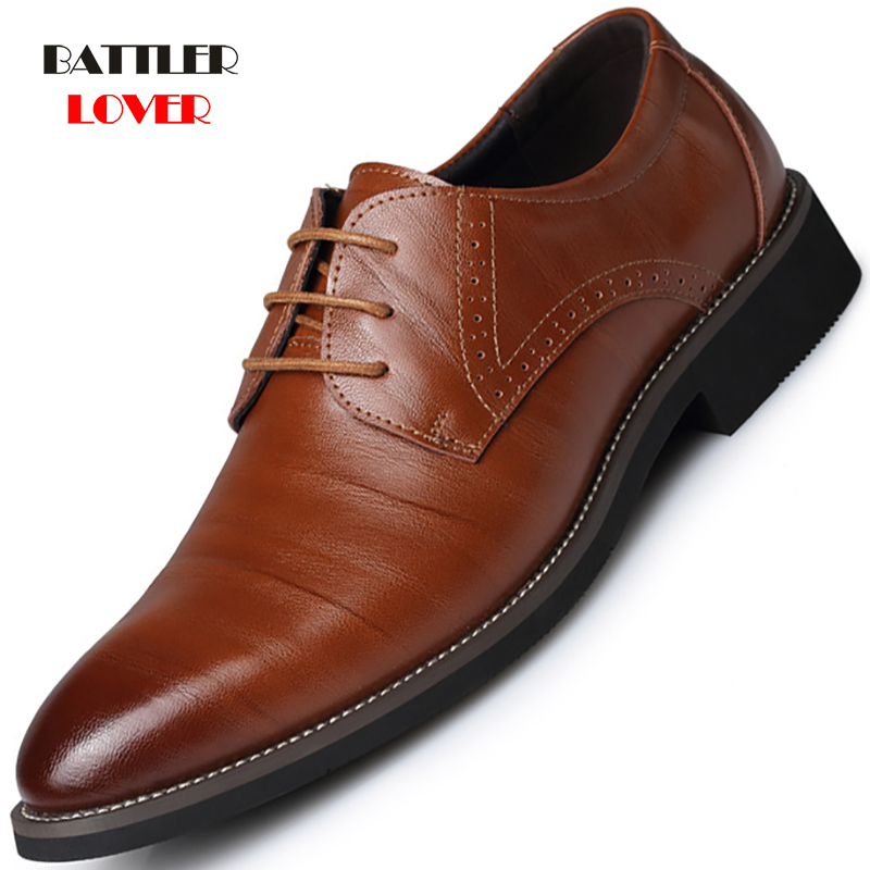 Classic Man Pointed Toe Dress Shoes Winter Fleece Mens Genuine Cow Leather Wedding Shoes Oxfords Men