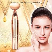 2 en 1, masajeador de belleza Facial dorado, barra de energía eléctrica Facial, masajeador de vibración, palo de estiramiento Facial, herramienta reafirmante de piel
