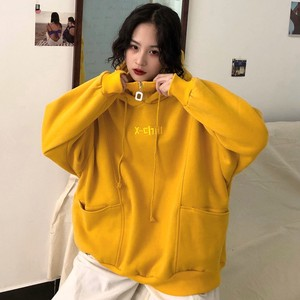 Image 2 - Capuche, vestes à capuche femmes, avec lettres brodées, en velours, épais à manches longues, sweat à capuche pour femme Harajuku, Style coréen, tendance Chic