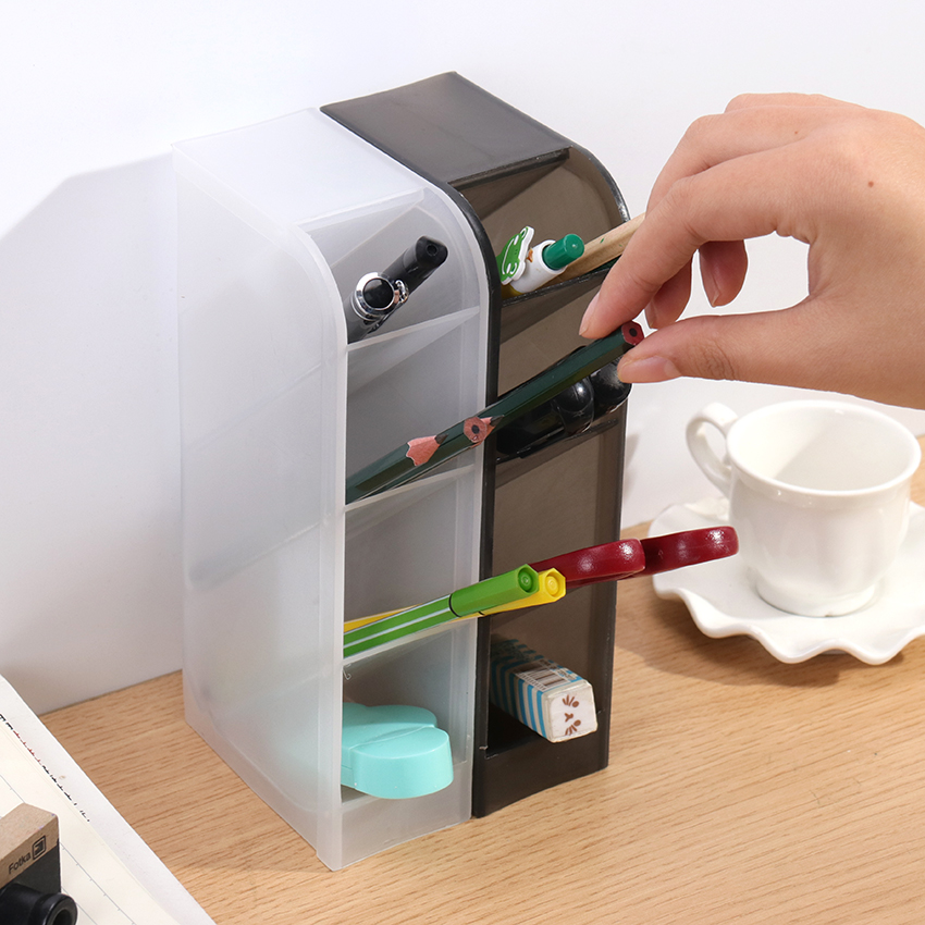 Multi-Function 4 Grid Desktop Pen Holder Office School Storage Case Clear White Black Plastic Box Desk Pen Pencil Organizer 1PC