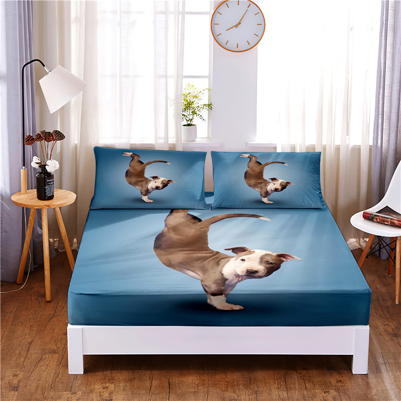 A Lively Dog Digital Printed 3pc Polyester  Fitted Sheet Mattress Cover Four Corners with Elastic Band Bed Sheet Pillowcases