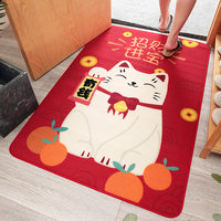 Fortune Cat Bathroom Mat Bedroom Kitchen Mat Decoration Living Room Nylon Sofa Floor Skid Resistant Floor Mat for Home Carpets