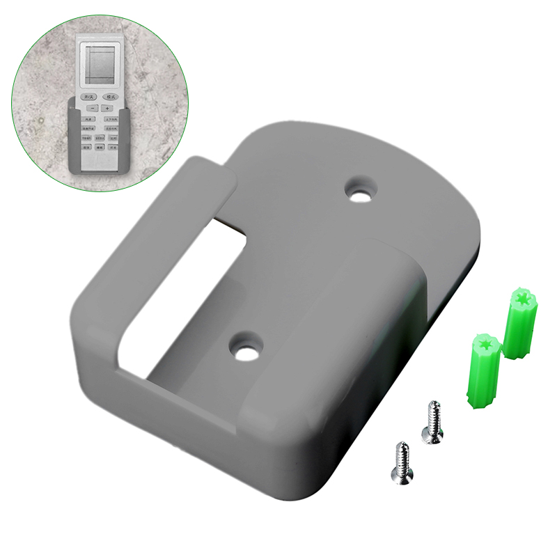 1pc ABS <font><b>Remote</b></font> Control Holder Case with Screws Wall Mounted Storage <font><b>Rack</b></font> Hanging Organizer Home Storage Accessories Grey image