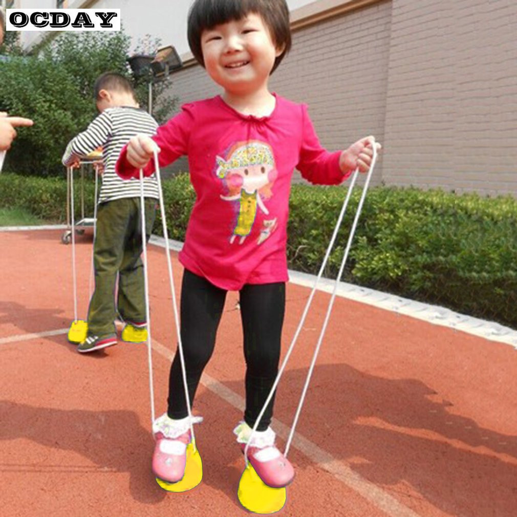 1pcs OCDAY 7 Colors Walk Stilt Jump Toy Plastic Smile Face Pattern Children Outdoor Fun Sports Balance Training Toy Best Gift