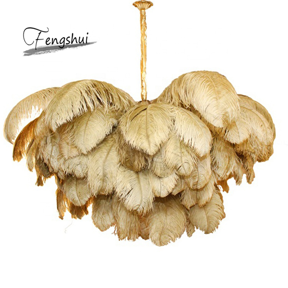 Nordic Ostrich Feather LED Pendant Lights Lighting Villa Model Room Art Hanging Lamp Living Room Decoration Pendant Lamp Lustres