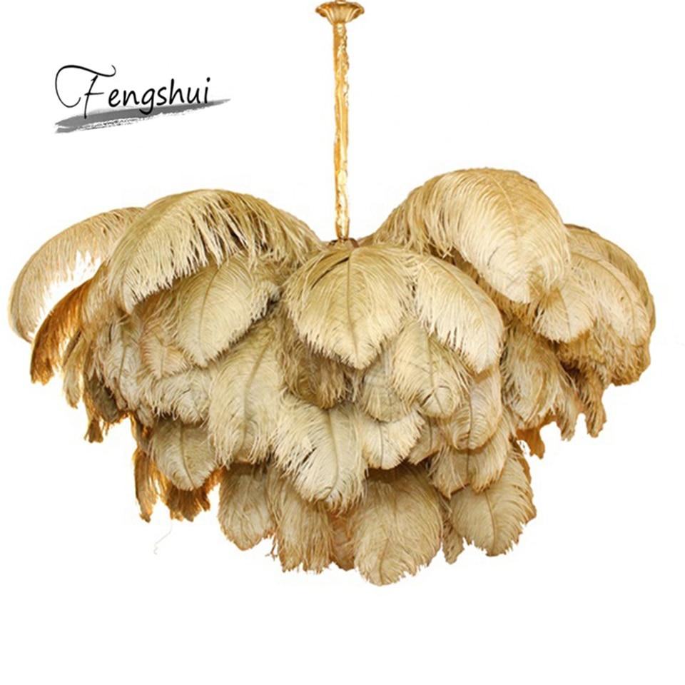 Nordic Ostrich Feather LED Pendant Lights Lighting Villa Model Room Art Hanging Lamp Living Room Decoration Pendant Lamp Lustres