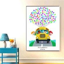 Настенная Картина на холсте картина школьного автобуса милый