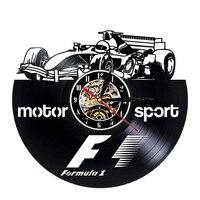McLaren Formula 1 Disco de Vinil Relógio de Parede Design Moderno Carro de Corrida F1 Tema 3D Decoração Pendurado Relógios de Parede Relógio de Casa decoração