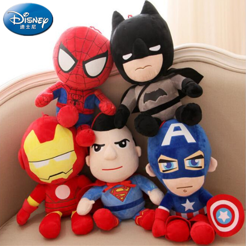 disney 20-30Cm Q style Spider-man Captain America Stuffed toys Super hero Batman plush soft The Avengers plush gifts kids Anime image