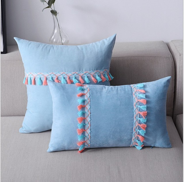 Colorful Tassels Cushion Cover Yellow Blue Navy Lumber Pillow Case Stripe Decors