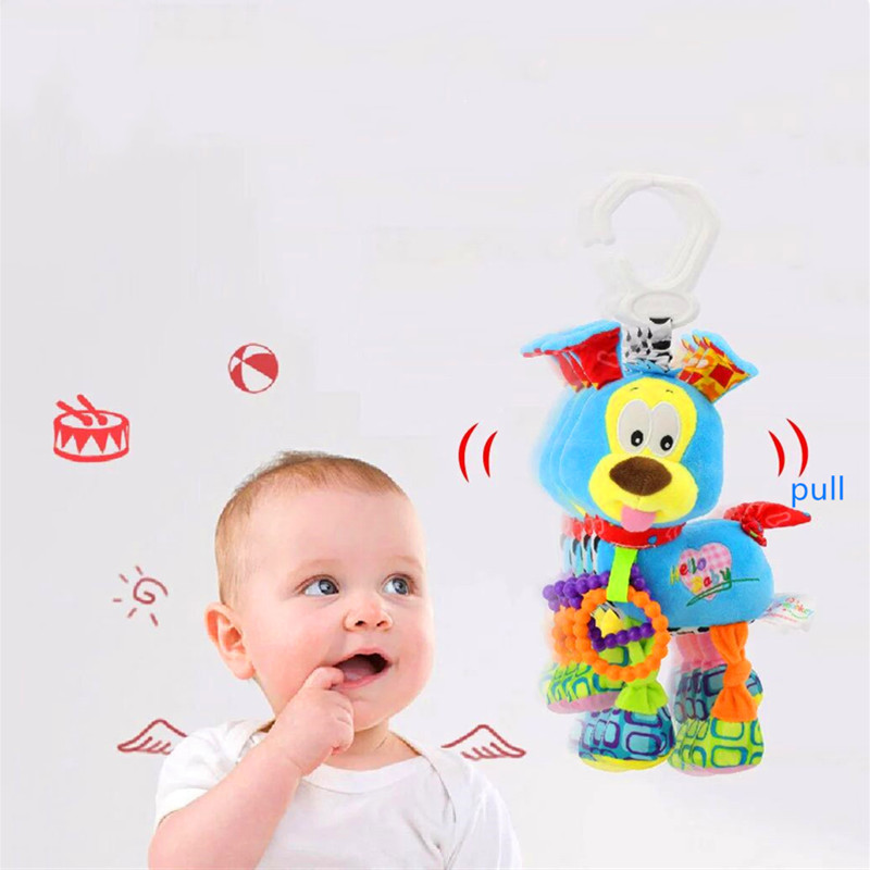 Pulling Vibration Puppy Mobile To Crib Bed Rattles Toys For Newborn Travelling Stroller Toys Baby Hanging Bed Bell Developing