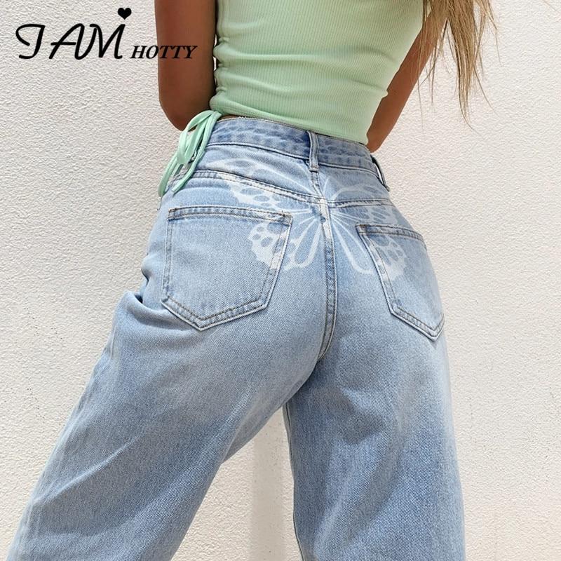 В стиле «хип бабочка печати y2k Harajuku модные джинсы для женщин Уличная Повседневная мешковатые прямые с высокой талией, джинсовые большого ра...