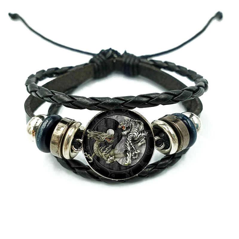 中国スタイル太極拳ドラゴン虎レトロガラスブレスレットマルチ層織りハンドメイド黒チャームブレスレット