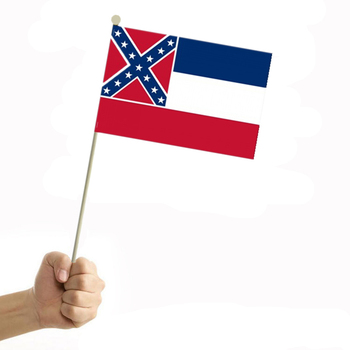 Mississippi State Flag 10pcs The Small Hand Flag Flying Hand National Flag With Pole Handing Flag 30*20cm Paper Small Flag Home image
