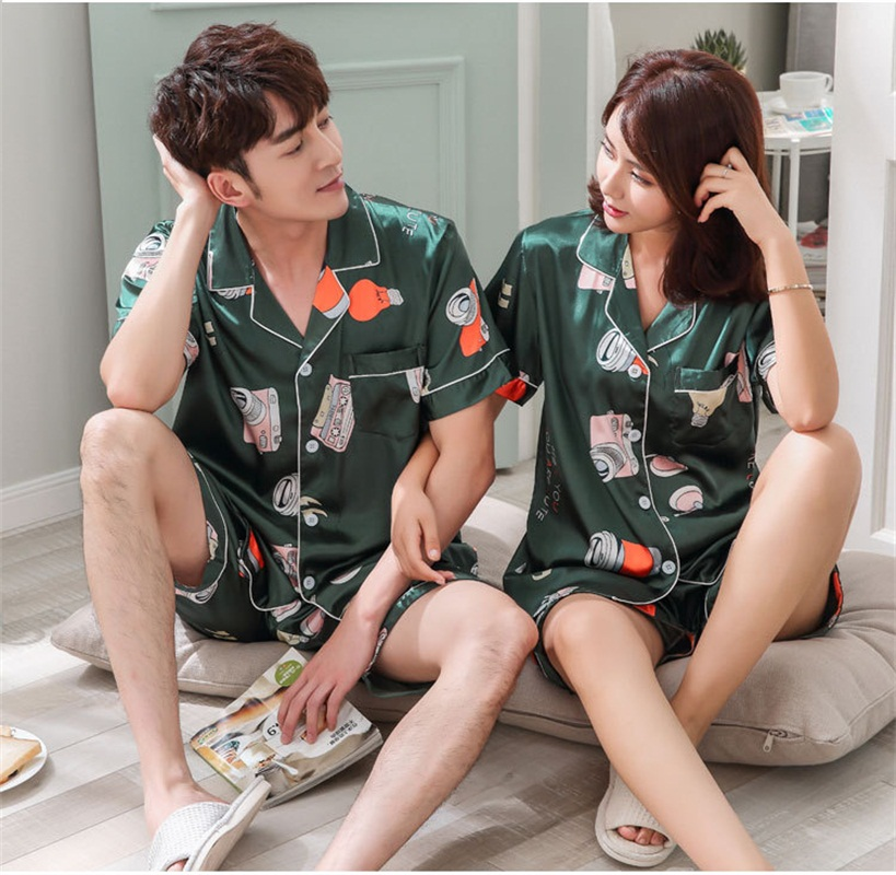 FZSLCYIYI Sleepwear Couple Pajamas Pijamas Men Satin Pyjama Man Home Wear Silk Pyjama Set Home Suit Big Size 3XL