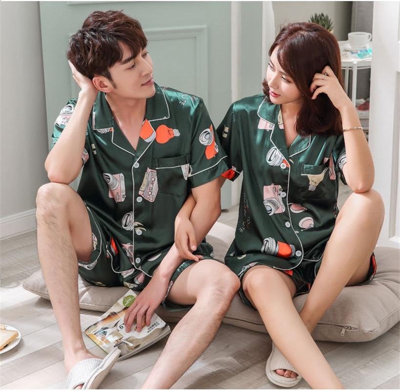 FZSLCYIYI Sleepwear Couple Pajamas Pijamas Men Satin Pyjama Man Home Wear Silk Pyjama Set Home Suit Big Size 3XL