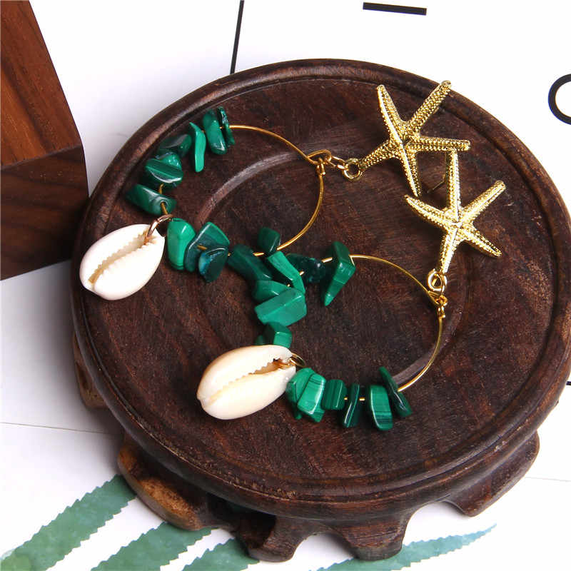 Boho Shell Stone Chips Pendants Earrings For Women Gold Starfish Charm Earrings Femme Fashion jewelry Brincos Geometric