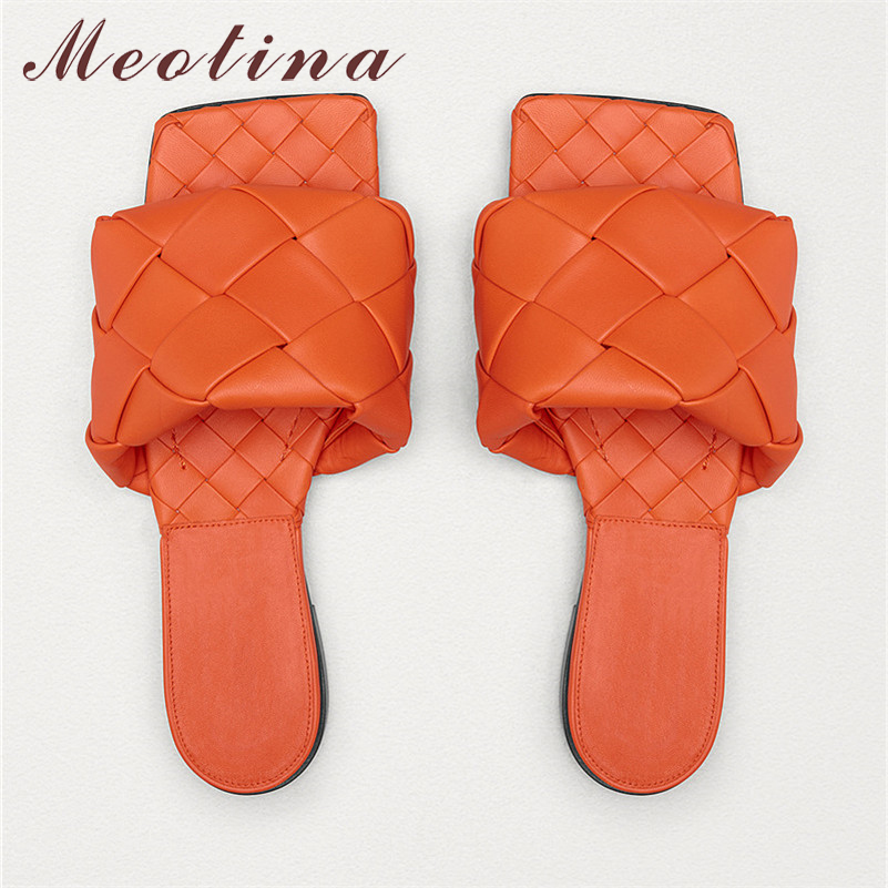Meotina Summer Slides Women Shoes Fashion Woven Flat Shoes High Quality Open Toe Slippers Ladies Sandals Red New Plus Size 34-43
