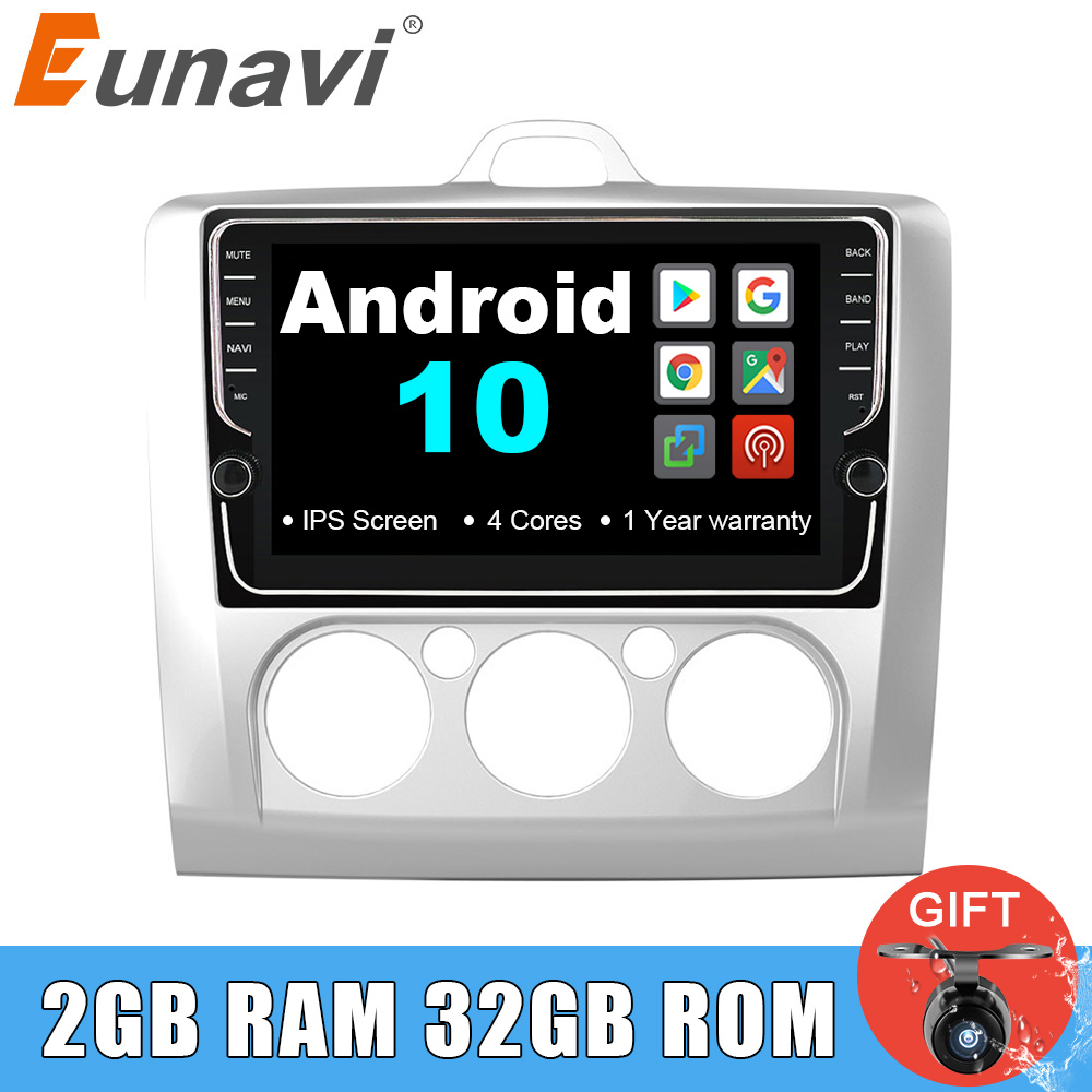 Eunavi 2 din 8 zoll Android 10 Auto Radio Multimedia Player GPS Navigation Für Ford focus 2 2004-2011 2din stereo steuergerät IPS BT
