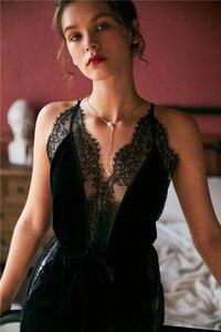 Image 5 - Lisacmvpnel jesienno zimowa nowe złote aksamitne damska suknia zestaw zagęścić Blackless modny pasek Pijama