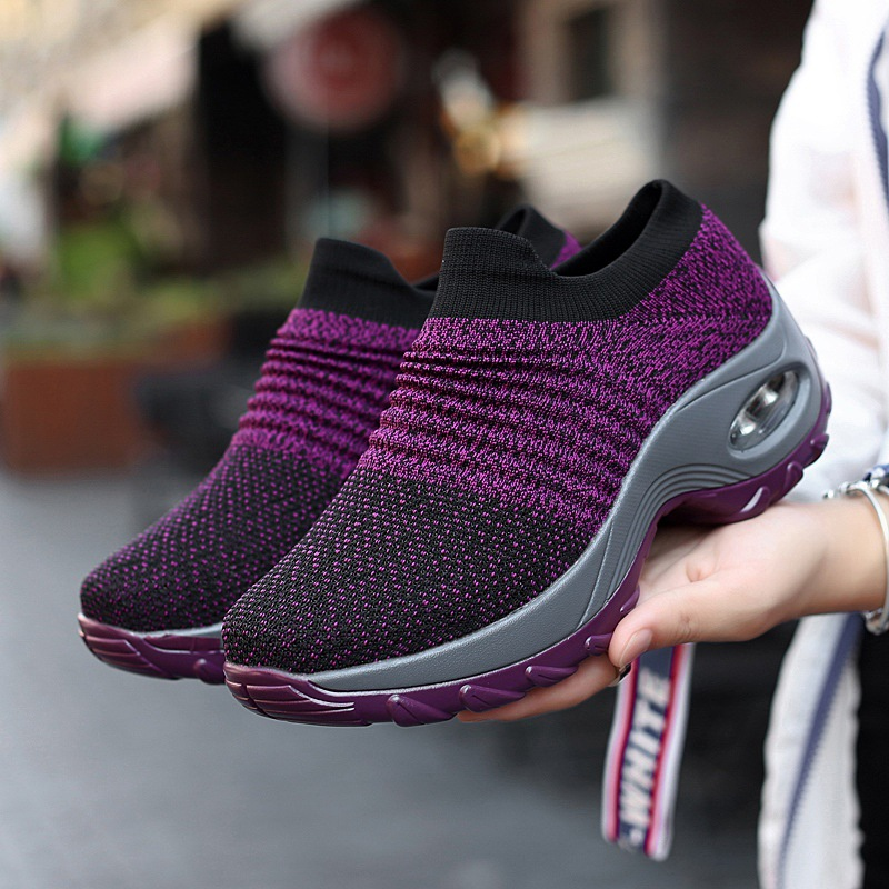 Women's Flyknit Platform Sneakers Casual Leisure Running Sports Shoes Mesh Breathable Wedges Sneakers Socks Shoes
