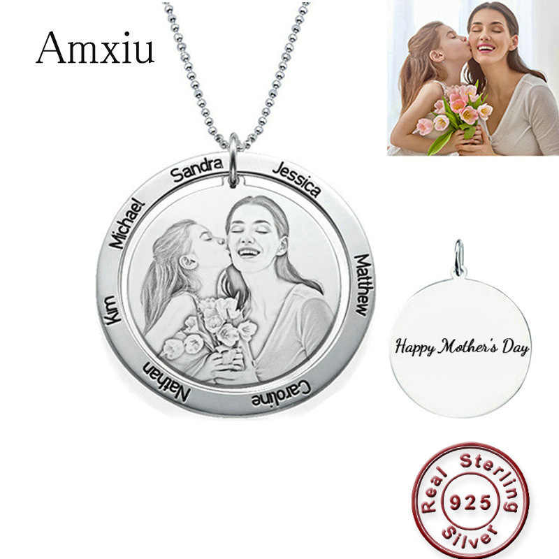 Amxiu Personalized Photo Necklace Custom 925 Sterling Silver Round Pendant Engrave 1-7 Name Necklace For Women Mother's Day Gift