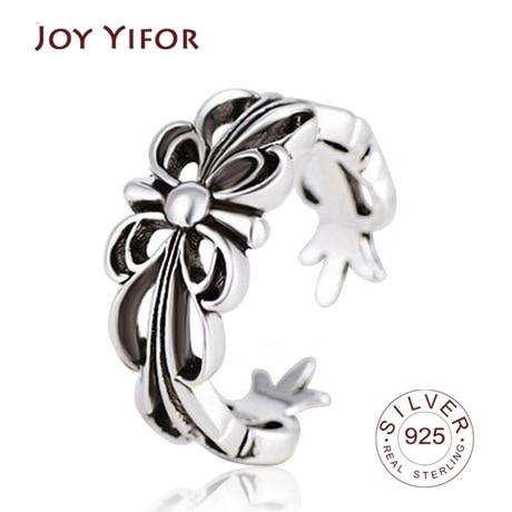 Real 925 Sterling Silver Geometric Black Enamel Flower OL Adjustable Ring Minimalist Fine Jewelry For Women Party Gift
