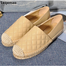 New Designer Fashion Genuine Leather Womens Espadrilles Casual Lady Flat Slip-on Loafers Slip Gingham Breathable Walking Shoes