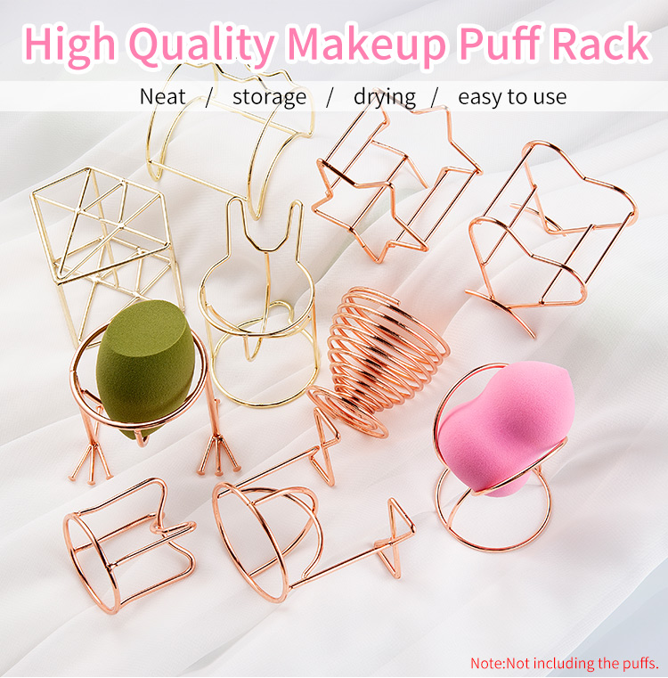 H7f23614599f043e0a959dcaa0b358219O 1Pcs Metal Bracket Makeup Puff Rack Cosmetic Holder Blender Display Stand Alloy Drying Power Make Up Sponge Tools 17 Style