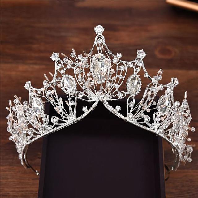SHCXGQN New Fashion Baroque Luxury Crystal AB Bridal Crown Tiaras Diadem Tiaras for Women Bride Wedding Hair Accessories HG02
