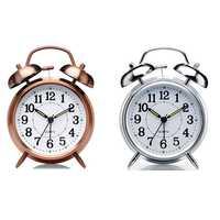 2 szt. Nie tykający 4 Cal podwójny alarm dzwonkowy zegar-metalowa ramka 3D Dial z funkcją podświetlenia-zegar biurkowy do domu i biura