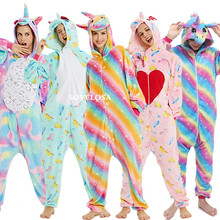 2019 Winter Unicorn Pajamas Stitch Animal Sleepwear Onesie Kigurumi Women Men Unisex Adult Flannel Nightie Home Clothes Sets NEW