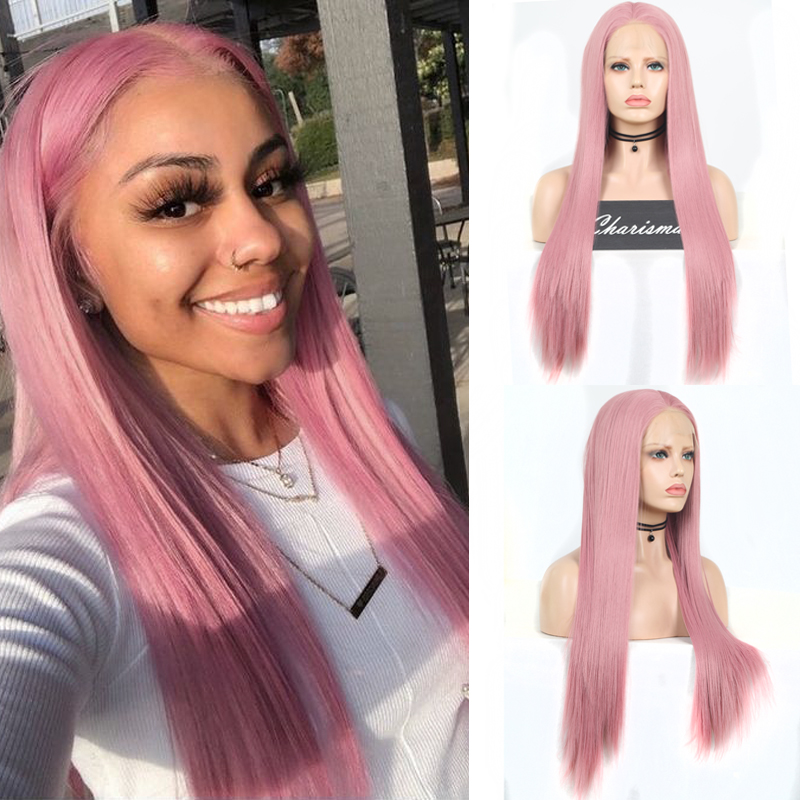 Charisma Long Straight Hair Pink Wig Heat Resistant Fiber Hair Synthetic Lace Front Wig For Women Free Part Cosplay Wigs