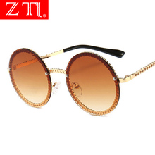ZT Metal Chain Frame Round Rimless Sunglasses Women Gradient Sun Glasses UV400 Brand Designer