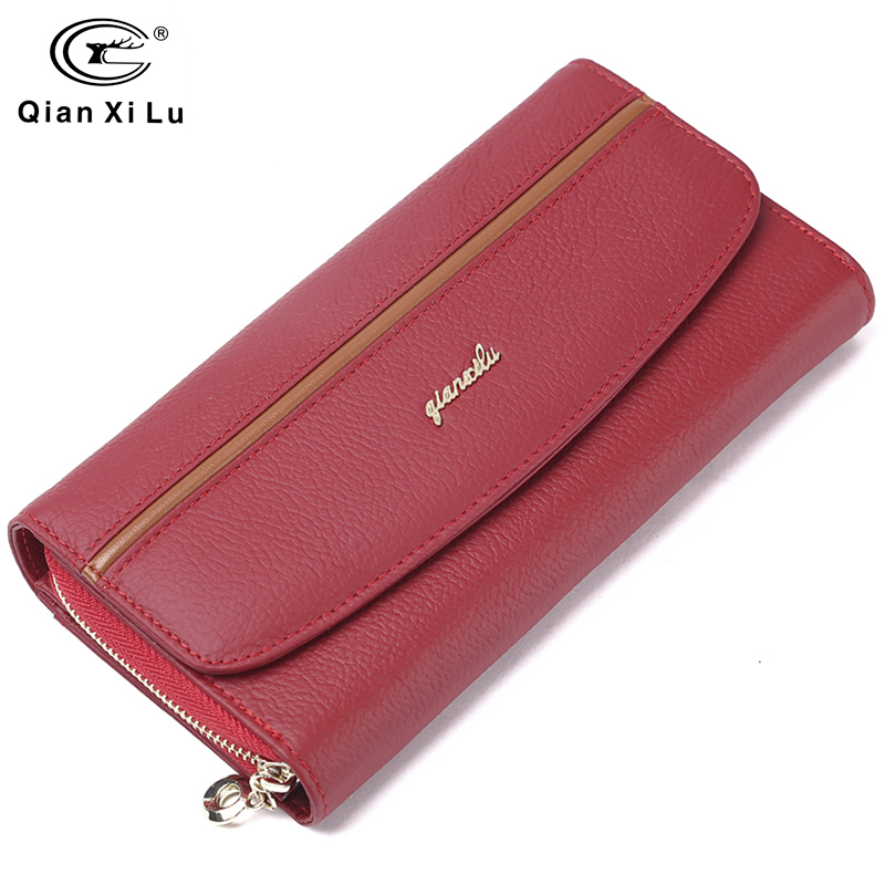 GIFT BOX Packing Genuine Leather Women's Purses Organizer Wallet Female Phone Wallets Card Holder Carteira Feminina