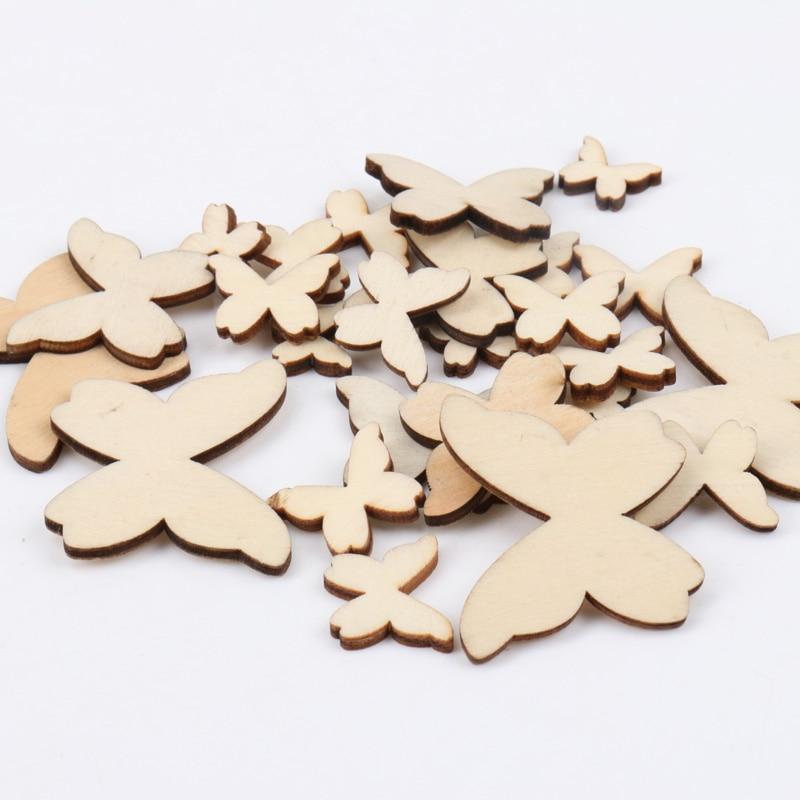 Teste Padrão de Borboleta de madeira Coleção de Arte do Ofício de Scrapbooking Para Handmade Acessório Costura Home 10/15/20/30/ 40mm 50pcs