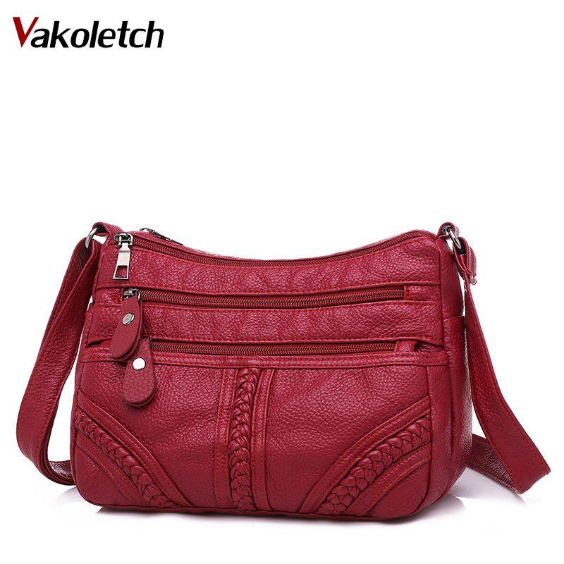 Multi-layer Crossbody Bag Quality Small Bag Brand Red Handbag Purse Fashion Women Bag Pu Soft Leather Shoulder Bag KL714