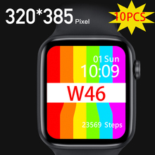 10個iwo W46スマート腕時計IP68防水bluetoothワイヤレス充電ecg心拍数スポーツ男性女性スマートウォッチ