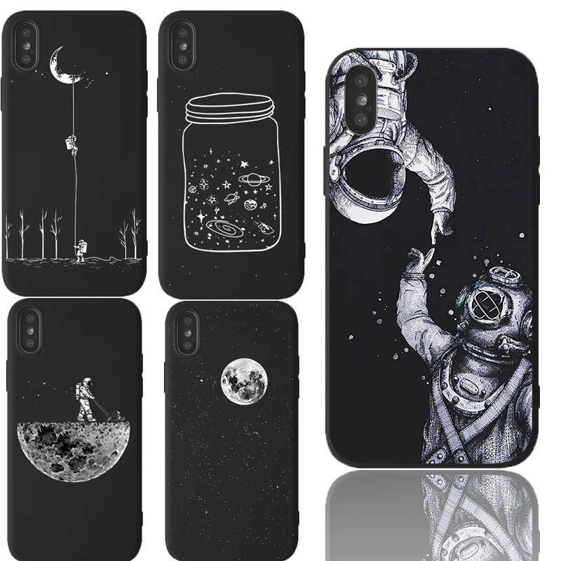 Space Cartoon Pattern Funda per iPhone 7 XR custodia morbida in Silicone per iPhone 11 Pro XR X XS MAX 8 7 6 6S Plus custodia antiurto