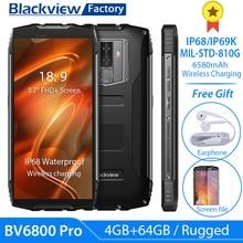 "Blackview BV6800 פרו IP68 IP69K מחוספס Smartphone 5.7 ""FHD 4GB + 64GB 16.0MP נייד טלפון MT6750T אוקטה ליבת אנדרואיד 8.0 NFC 4G"