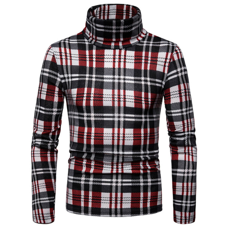 Brand New Fashion Winter Mens Slim Warm Knitted Pullover Jumper Sweater Plaid Turtleneck Soft Tops Mens Wear Slim Fit Knitwear