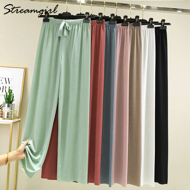 Summer Ice Silk Pants Sets Women Loose T Shirt 2 Piece Wide Leg Pants Woman Soft Ice Silk Pant Suits Summer Sets Womens 2021 4