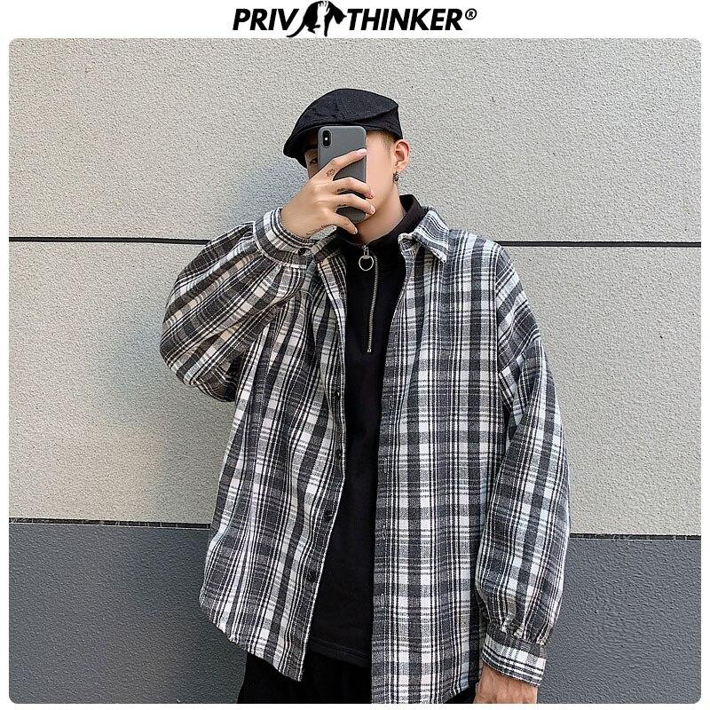 Privathinker Men Woman Plaid Autumn Wool Jackets Mens 2019 Hip Hop Collage Jacket Male Loose Warm Outwear Korean Fashion Clothes