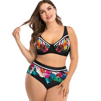 Vintage Women's Bikini Set Plus Size Two Piece Swimsuit Padded Push Up Beachwear Bathing Suit L XL XXL XXXL XXXXL