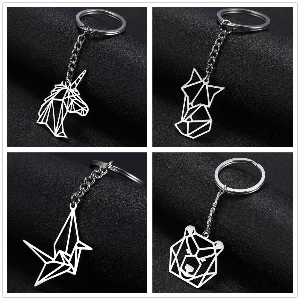SKYRIM Fashion Fox Crane Ericius Unicorn Charm Car Keychain Stainless Steel Bear Rabbit Bird Key Ring Holder Gift For Men Women