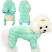 Клетчатая одежда для собак пижама кошек и комбинезон с длинным