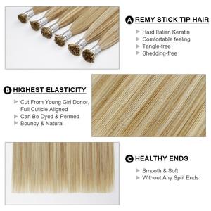 Image 2 - Kératine collée I Tip Extension de cheveux 100% Remy européenne faits saillants Extensions humaines 16 20 pouces 0.8 g/pc 50 pcs/pack fée Remy cheveux