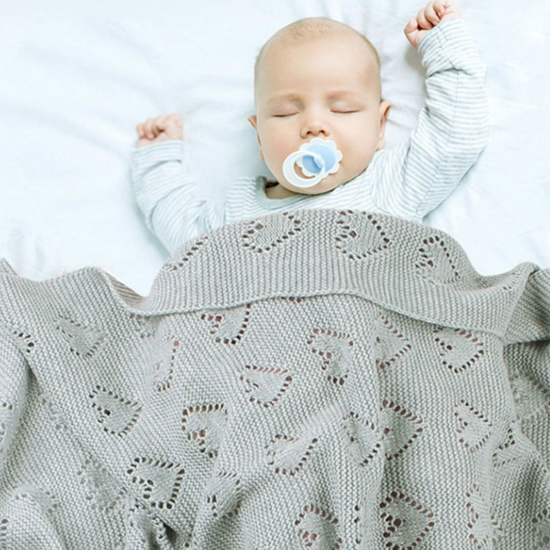 .Cotton Knitted Baby Blankets Newborn Wrap Solid Stroller Bedding Quilts Toddler Swaddling Wrap Infant Muslin Swaddle 100*80 CM