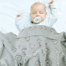 Solid Knitted Baby Blankets 100% Cotton Swaddle Wrapp Sleeping 100*80cm Children