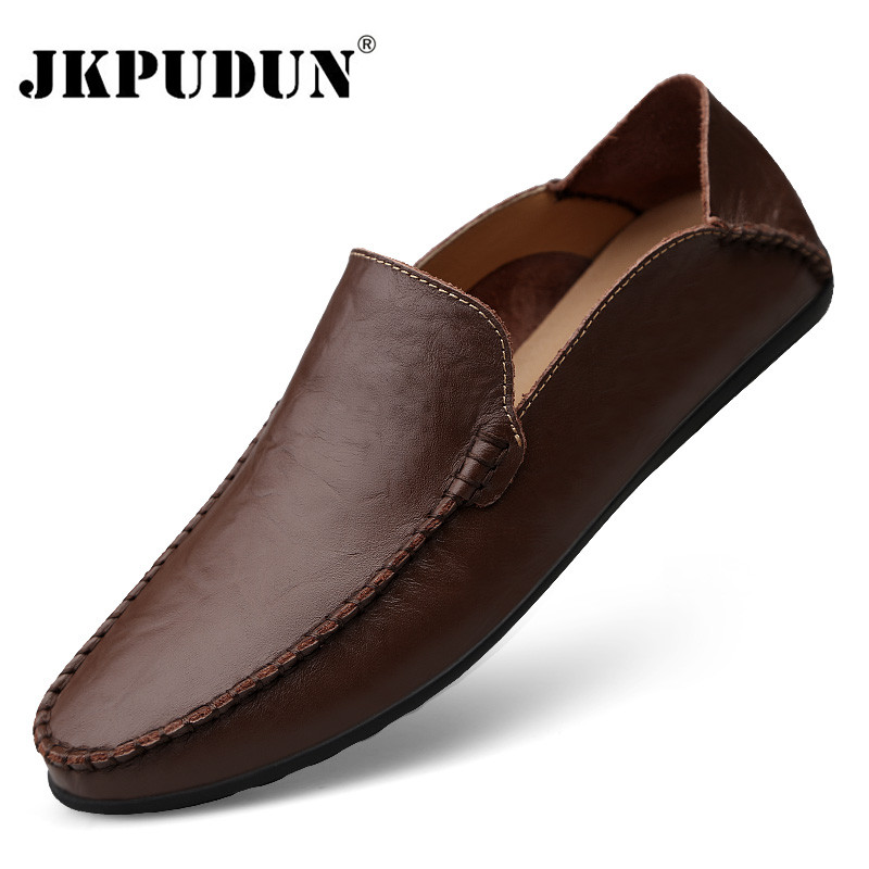 Genuine Leather Men Casual Shoes Luxury Brand 2020 Italian Mens Loafers Moccasins Breathable Slip On Boat Shoes Plus Size 38-46